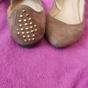 Brown suede flats studded back